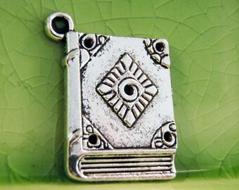 20 silver book charms pendants spell witch fantasy literary books reading read fairytale storybook 26mm x 21mm- C0344-20