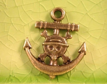 5 bronze Anchor Skull charms pendants cross bones pirate ship pirates caribbean skullies skellies 22mm x 19mm - C0355-5