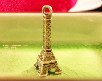 5 bronze 3d Eiffel tower charms pendants Paris France French monument summer vacation romance love 28mm x 10mm - C0384-5