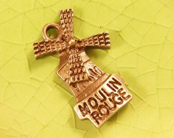 5 bronze Moulin Rouge Windmill charms pendants wind mill cabaret can-can dance revue Paris France French 20mm x 13mm - C0385-5