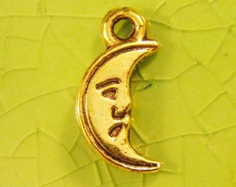 5 gold moon charms pendants tiny crescent man nursery rhymes summer planet astronomy mystical 14mm x 7mm Free Combined Shipping - C0397-5