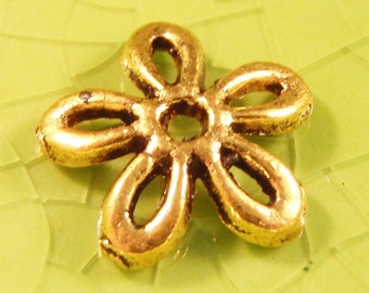 10 gold flower bead cap end findings flowers petal petals daisy daisies outline mother nature spring summer leaves leaf 12mm - C0585-10