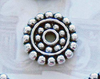 10 silver circle gear spacer charms pendants round steampunk dot dotted 14mm - C0198-10