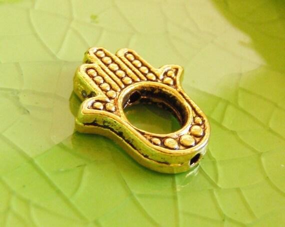 5 gold Hamsa hand of Fatima charms pendants evil eye bead spacer 16mm x 13mm - C0286-5