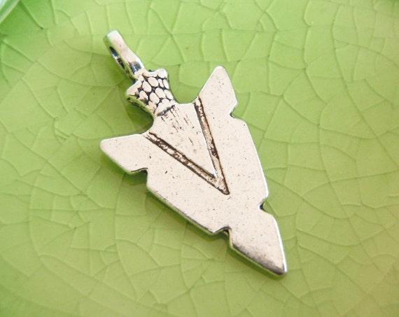 5 silver arrowhead charms pendants arrow head bow games Jacob Indian Native American hunting weapon arrowheads 30mm x 15mm - C0965-5