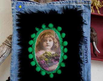 Shoulder bag, with applique of old photo. A fabulous one of a kind accessory.