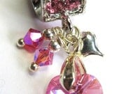 Rose AB Swarovski Crystal Dangle Charm or Pendant