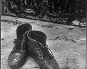 A life of a painter -  Black & White photograph of  'Artist's Boots'. Limited Edition print one of only 25. FREE postage