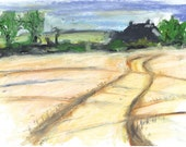 Rural English landscape 'Bisley Barn'. Oil Pastel. Limited Edition print one of only 25. Free Postage.