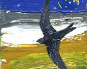 Swallow  'Flying South for the Winter'  Limited Edition collage. Print one of only 25. FREE postage