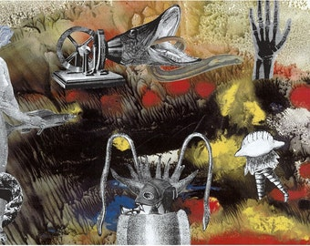 Sea worthy and surreal collage 'Toot - Toot '  A Mysteries of the Deep Series. Limited Edition print one of only 25. FREE world postage