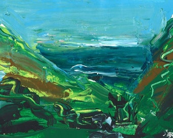 A  view to the sea, 'Duckpool  Valley' Acrylic Painting. Limited Edition print one of only 25. FREE World postage