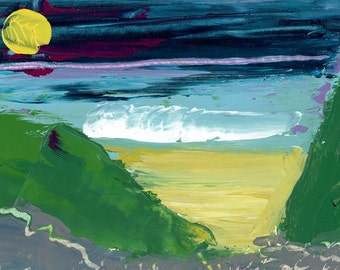 Mysterious Moonlight over Duckpool Beach. Limited Edition Print one of only 25. FREE World shipping