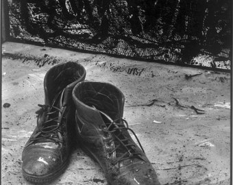A life of a painter -  Black & White photograph of  'Artist's Boots'. Limited Edition print one of only 25. FREE world shipping