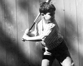A boy's dream. Budding Baseballer. Black & White photograph. Limited Edition print one of 25. FREE world postage
