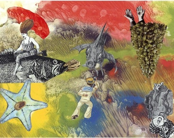 Story of the sea. 'Life or Death for Sailor' Collage  (Mysteries of  Deep Series) Limited Edition print one of only 25. Free world shipping