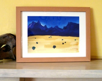 Sparse, beautiful African country 'Cederberg Mountains and Plain' Limited Edition print one of only 25.  FREE World postage