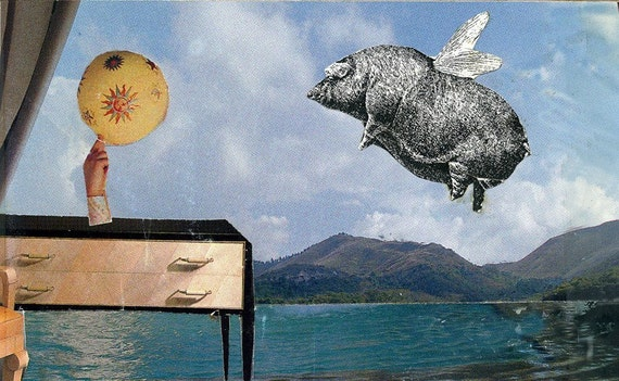 Flying Fat pig surreal collage  'Pig flies past Stylish Interior' Print one of only 25. Free world shipping