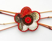 Vintage Fabric flower Brooch - 1960s Retro barkcloth, Red  and Olive