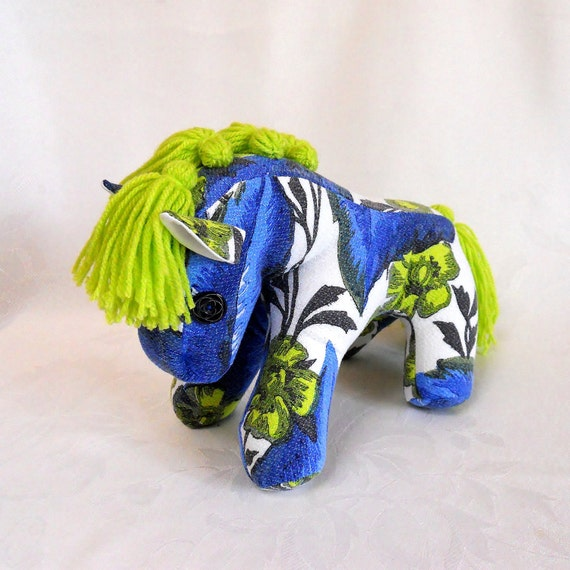 Retro Pony - a horse crafted from 60s Vintage fabric  - Blue / Lime green CUSTOM MAKE