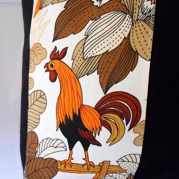 Retro Shopper / Tote Bag orange 70s Animal Farm Cockerel Vintage fabric