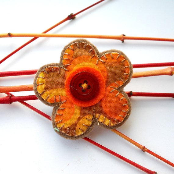 Vintage Fabric Retro Flower Brooch 60s Orange and Yellow Circles