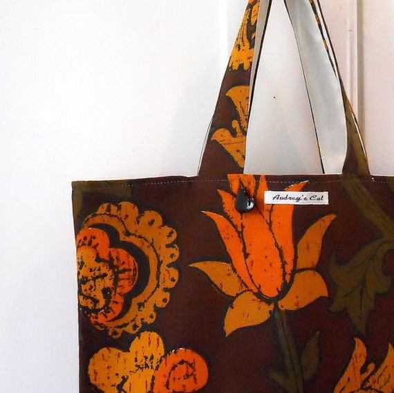 Vintage Fabric  Shopper / Tote Bag  70s brown