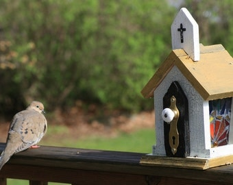 Rustic Stained Glass Church Bird Feeder