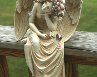 SALE Coastal Shores Majestic Sea Shell Encrusted Resting Grace Angel