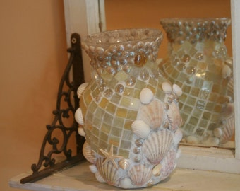 SALE ....    Coastal Shores Custom Mosaic Seashell Vase