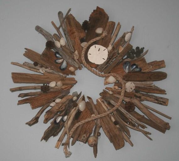 SALE ..........     Coastal Shores Rustic Driftwood Pine Cone Sea Shell Wreath