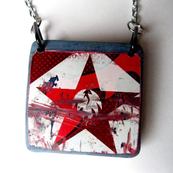 Save the Planet Green Recycled Skateboard Necklace -Red White Black and Blue Star - Punk Skater Fashion by TakeTwoSkateShop