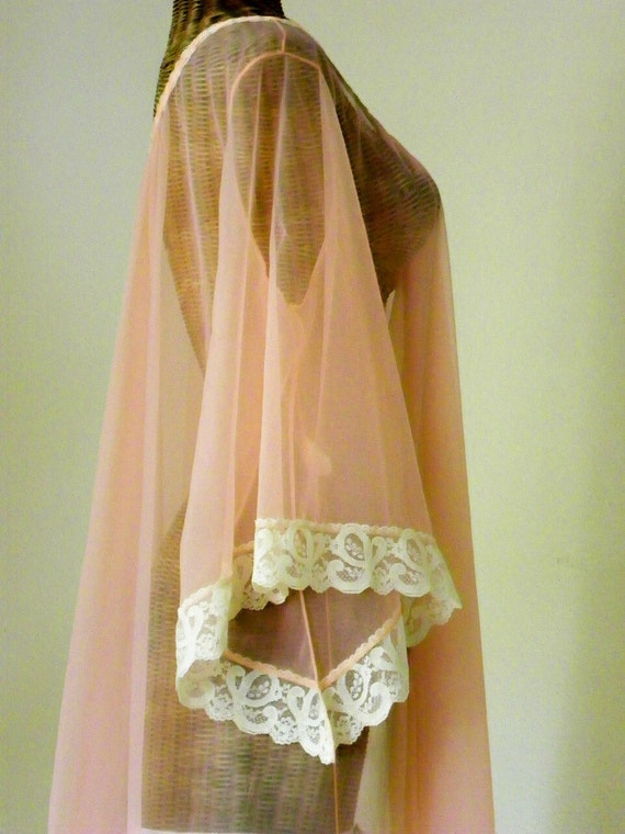 Vintage Jenelle of California Sheer Chiffon Peignoir Robe Bell Sleeves Peach Tall Girls Must See on Etsy