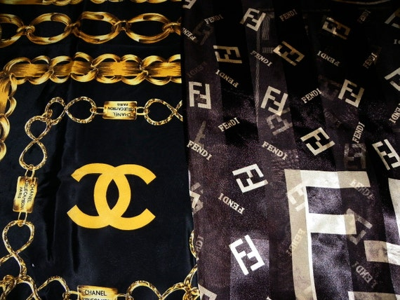Vintage Chanel and Fendi Paris Black Gold Chain Silk Scarf Large 34 by 34 Square Inches on Etsy