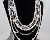 Layered Romance - Silver, Pearl, Purple and Chain Necklace