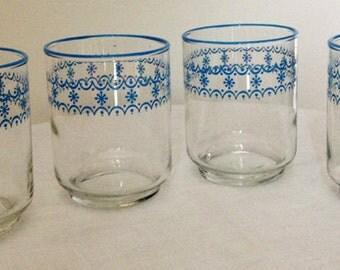 Set Of 4 Vintage Juice Glasses with Blue Design