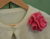 UPCYCLED CASHMERE RUFFLE poof flower pin / bubblegum pink