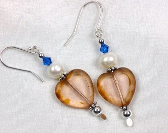 Peachy Hearts and Pearls Earrings