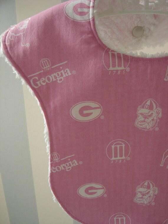 Pink Georgia Bulldog Bib and Burp Cloth Set