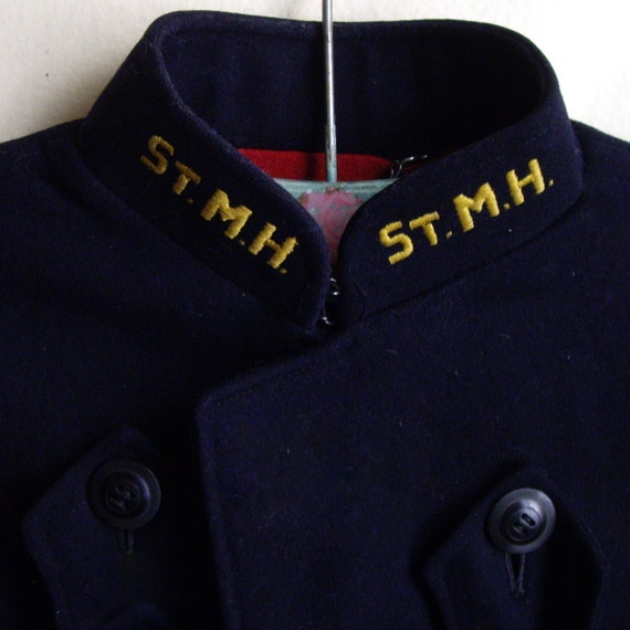 1940s Mititary Nurse Cape Navy Blue and Red Wool