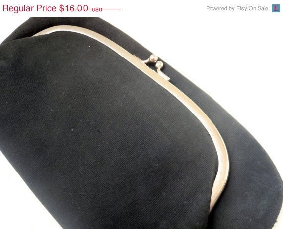 40 PERCENT OFF VintageWhite Satin Lined Black Fold Over Clutch with Kiss Closure