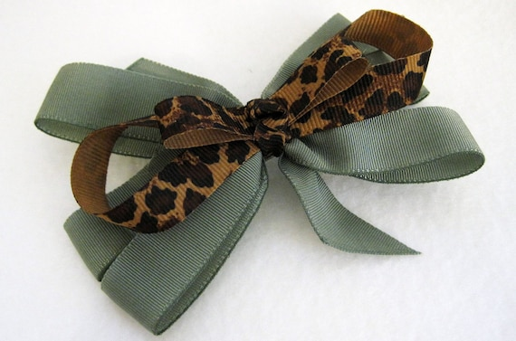 Sophisticated Sage Green and Leopard Print Hairbow on Lined Alligator Clip