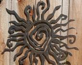 "Rustic Sun Wall Decor 24"""