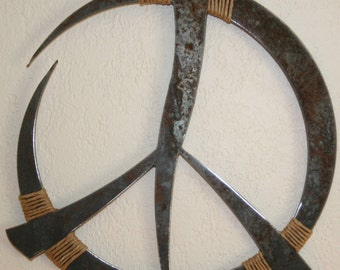 "Rustic Metal Peace Sign Wall Decor 13"" custom recycled steel Peace art"