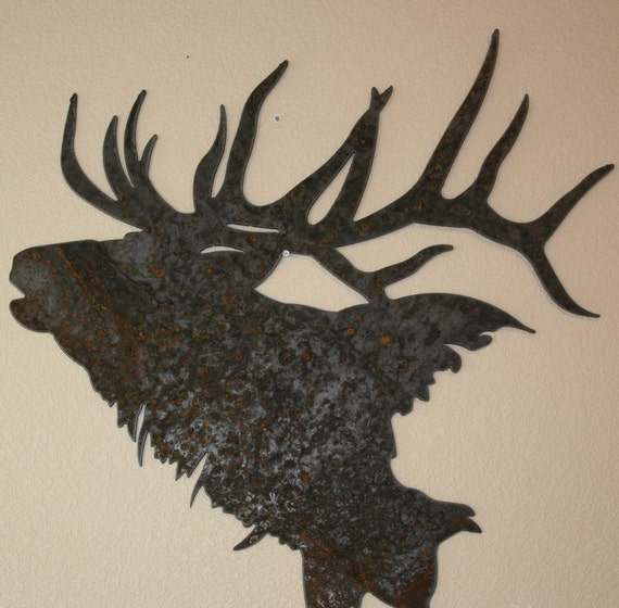 Majestic Elk Silhouette recycled steel Elk head Custom metal Elk wall art
