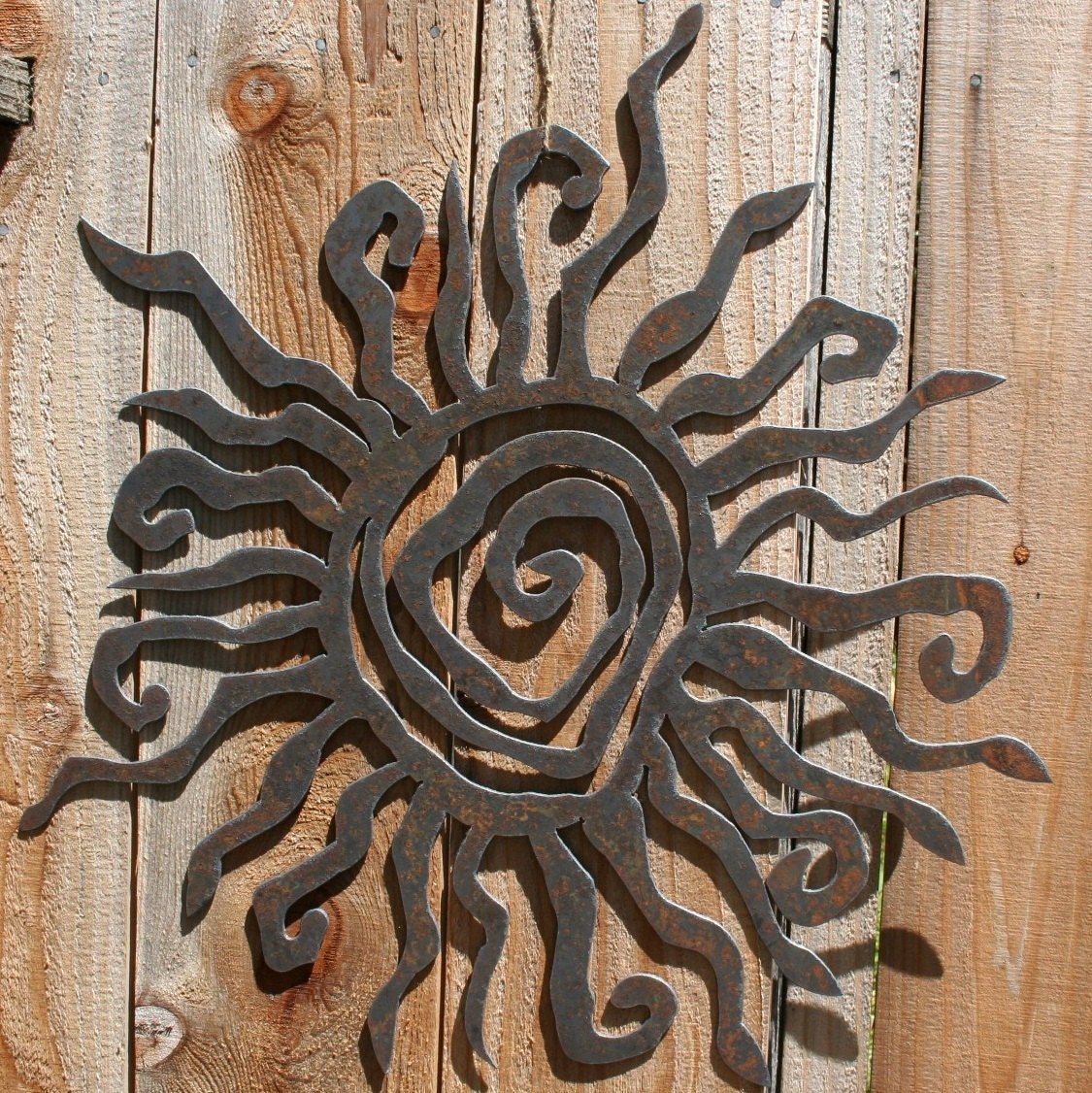 Rustic sun indoor outdoor wall decor 30 recycled steel for Outdoor hanging ornaments