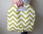 Green Zig Zag Foldover Clutch, Tote Bag