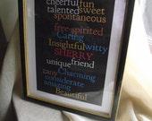 Name Art Friendship Love Frame Family Attributes Personalized Wedding Couple Black White Multi Color Print Proposal