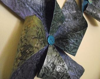 Paper PINWHEELS Hanging Pinwheels Wedding PInwheels Blue Hand-painted pinwheels Blue Pinwheels Pinwheel Wall Decor Pinwheel Art