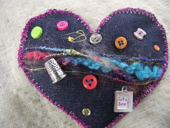 PURSE PIN Denim Heart Pin Sewing Lovers multi colored for your tote or book bag decoration crafters scarf hat accessory